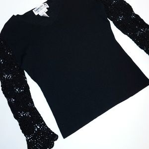 Joseph A. Black Blouse Crochet Sleeves S